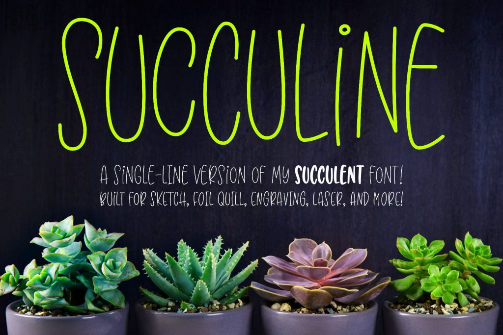 SuccuLine single-line font by Missy Meyer