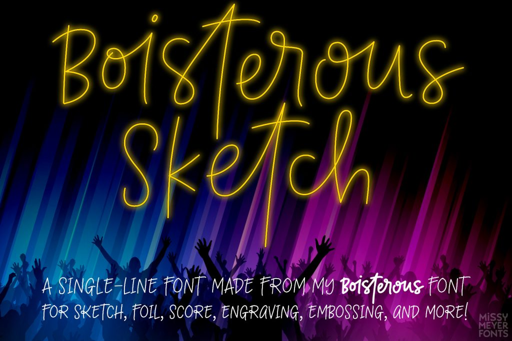 Boisterous Sketch single-line font for score, engrave, emboss, quill, sketch